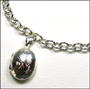 Oval Etched Locket Silver Link Necklace 17""