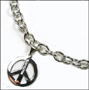Peace Charm Silver Link Necklace (Medium)