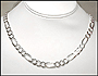 "Men's Silver Figaro Chain Necklace 24"" (9mm)"