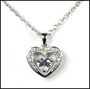 Cute Heart-in-Heart  Pendant Silver Necklace