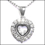 Heart  with Floating Stone Silver Necklace