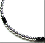 Sterling Silver Bead (6 mm) and Black Onyx Necklace 16""