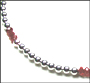 Sterling Silver Bead (6 mm) and Ruby Quartz Necklace 16""