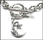 "Moon Star Charm Toggle Link Silver Bracelet  7"" - 7.5"""