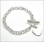 Heart Charm Toggle Round Rolo Link Silver Bracelet  7""