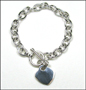 "Heart Charm Toggle Link Silver Bracelet  (Medium 8"" - 8.5"")"