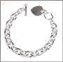 "Heart  Charm Toggle Sterling Silver Link Bracelet  (Heavy) 7"" - 7.5"""