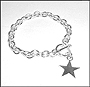 "Star Charm Toggle Sterling Silver Link Bracelet  (Medium) 7"" - 7.5"""
