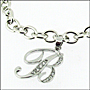 "Sterling Silver Link Bracelet with Script Initial Charm  7"" - 7.5"""
