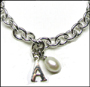 "Personalized Initial and Pearl Link Silver Bracelet with Clasp 8"" - 8.5"""