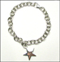 "Star Charm Tag  Link Silver Bracelet with Clasp 8"" - 8.5"""