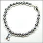 "Sterling Silver 6mm Bead Bracelet with Initial  (7"" - 7.5"")"