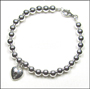 "Sterling Silver 6mm Bead Bracelet with Heart Lock (7"" - 7.5"")"