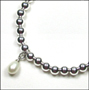 "Sterling Silver 6mm Bead Bracelet with Freshwater Pearl (7"" - 7.5"")"