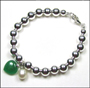 "Silver 6 mm Bead Bracelet with Pearl and Jade Heart (7"" - 7.5"")"