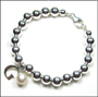 "Sterling Silver 6 mm Bead Bracelet with Pearl and Initial(7"" - 7.5"")"