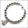"Sterling Silver 6 mm Bead Bracelet with #1 Mom Charm (7"" - 7.5"")"