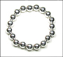 "Sterling Silver 10 mm Bead Stretch Bracelet  (7"" - 7.5"")"