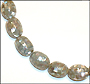 "Silver Gray Mother of Pearl Large Patched Bead Necklace (Plus Size 18"")"