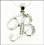 "Sterling Silver Script Initial Personalized Pendant Necklace 16"" or 18"""