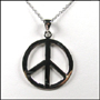 Peace Sign Polished Silver Necklace