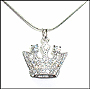Crown Pendant Silver Necklace