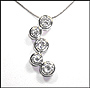 Sterling Silver Alternated Bubble CZ Necklace