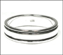 Men's Polished Silver Band Ring with Trims Plus Size 14, 15