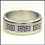 Greek Key Stainless Steel Spin Ring Plus Size 13, 14,15