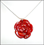 Carved Coral Necklace in Silver