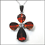 Garnet Color Cross  Necklace in Silver