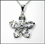 Clear Flower Pendant  Necklace in Silver