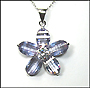 Blue-Violet Flower Pendant  Necklace in Silver