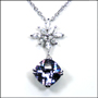 Blue Violet Princess Cut  Necklace in Silver
