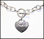 Heart Charm Toggle Sterling Silver Link Necklace (Regular)