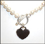 Freshwater Pearl Necklace with Heart Charm 18""