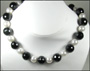 Faceted Black Onyx Bead and Swarovski Pearl Necklace