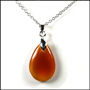 Teardrop Carnelian Necklace in Silver