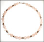 Rose Quartz  Necklace witn Balinese Silver Beads18""