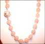"Rose Quartz Bead Opera Necklace with Pearls (30"")"
