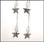 Hanging Star Sterling Silver Earrings