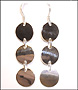 Triple Disc Drop Silver Earrings