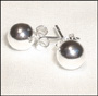 Polished Sterling Silver Ball Bead Stud Earrings (7 - 8mm)
