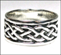 Men's Celtic Lover's Knot Silver Wide Band Ring Plus Size 11, 13