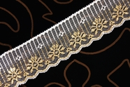 "2"" White Gold Metallic Lace Trim #lace-500"