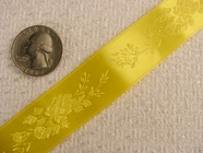 Delicate Floral on Yellow Satin Jacquard Ribbon #-WR-165