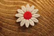 Pretty White and Red Flower Applique # appliques-1064