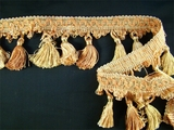 "Italian 2 7/8"" Mauve Sage Blonde Fancy Braid Tassel Fringe Trim LT-78"