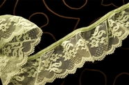 "2 1/4"" Light Lime Floral Ruffled Lace Trim #1027"