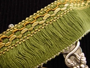 "Italian 1.75"" Wide Green Fringe Trim Made in Italy Vintage Drapery Fringe Decorative Braid Trim"
